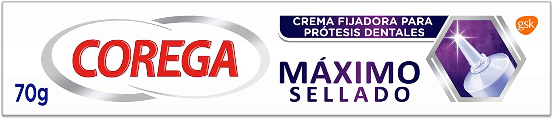 Corega, Máximo Sellado, Crema Fijadora para Prótesis Dentales, Hasta 12 Horas de Fijación, 70 g