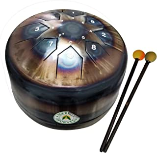 American Ayurveda Steel Tongue Drum Hand Pan Tank 12 inch Diameter 8 Notes (G A B C D E F# G) Percussion Handmade Tuned to Healing Frequency of 432Hz Meditation Sound Healing Chakra Balancing Music