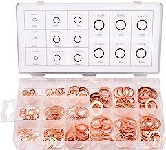 Toolwiz 150 STKS 15 Maten Koper Metrische Afdichtingsringen Assortiment Set Platte Ring Sump Plug Olie Seal Pakking Afdich...