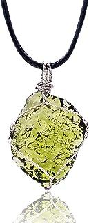 Yayiha Moldavite Necklace Crystal Authentic Natural Irregular Crystal Energy Stone Aerolites Czech Crystal Pendant Necklac...