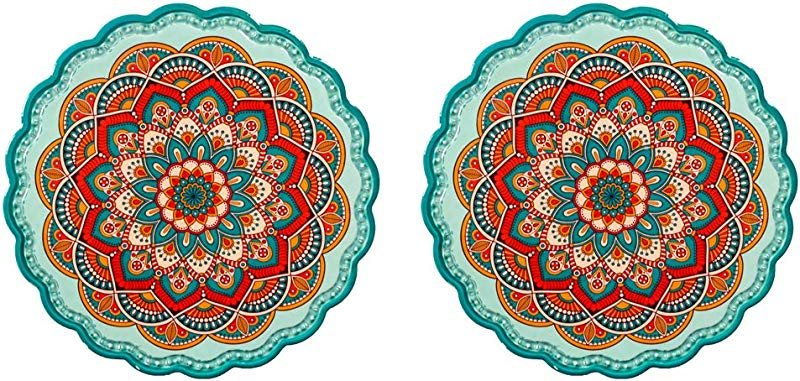 Arly Ceramic Tile Green Trivet For Hot Dishes And Pans Art Resistant HOT Insulation Pads With Bohemia Style Round 7 7 Inch Set Of 2
