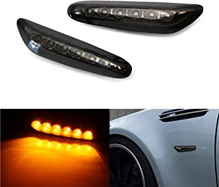 iJDMTOY Euro Smoked Lens Amber Full LED Front Side Marker Light Kit Compatible with BMW 1 3 5 Series, etc, Replace OEM Amb...