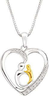 Mother and Child Pendant Necklace with Diamonds in Sterling Silver & 10K Gold