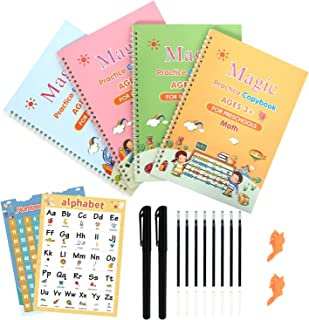 [Larger Size] ESTUSR 10.5''×7.3'' Magic Practice Copybook for Kids,Calligraphy Workbook Reusable English Handwriting Paste...