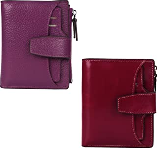 AINIMOER Women Leather Wallet RFID Blocking Small Bifold Zipper Pocket Wallet Card Case Dark Magenta and Wine Bundle