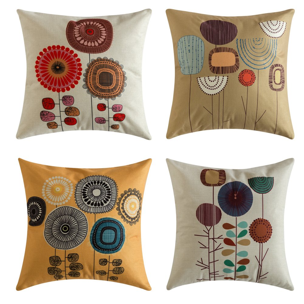 MIULEE Pack of 4 Flower Decoration Linen Burlap Decor Outdoor Square Throw Cushion Cover Cushion & Living Room Cushions: Amazon.com