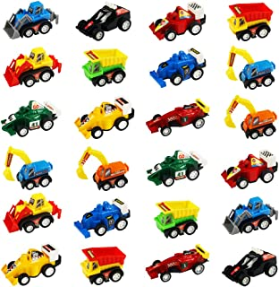 Pull-Back Vehicles Mini Toy Cars 24 Pack Assorted Trucks and Raced Car Toys Set with Dumps Trucks Diggers Bullozers Racing Cars Easter Egg Fillers Party Favor for Kids