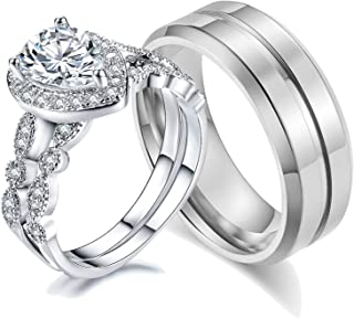 AHLOE JEWELRY Teardrop Wedding Ring Sets for Him and Her Women Men Titanium Stainless Steel Bands Cz 18k Gold Pear Shaped ...