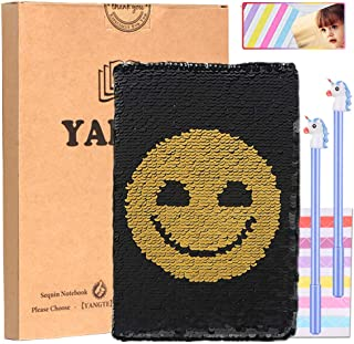 Sequin Journal,Magic Reversible Notebook and Unicorn Pens,A5 Flip Travel Diary with Smiley Face Pattern - DIY Notepad for Kids Girls Birthday Gift