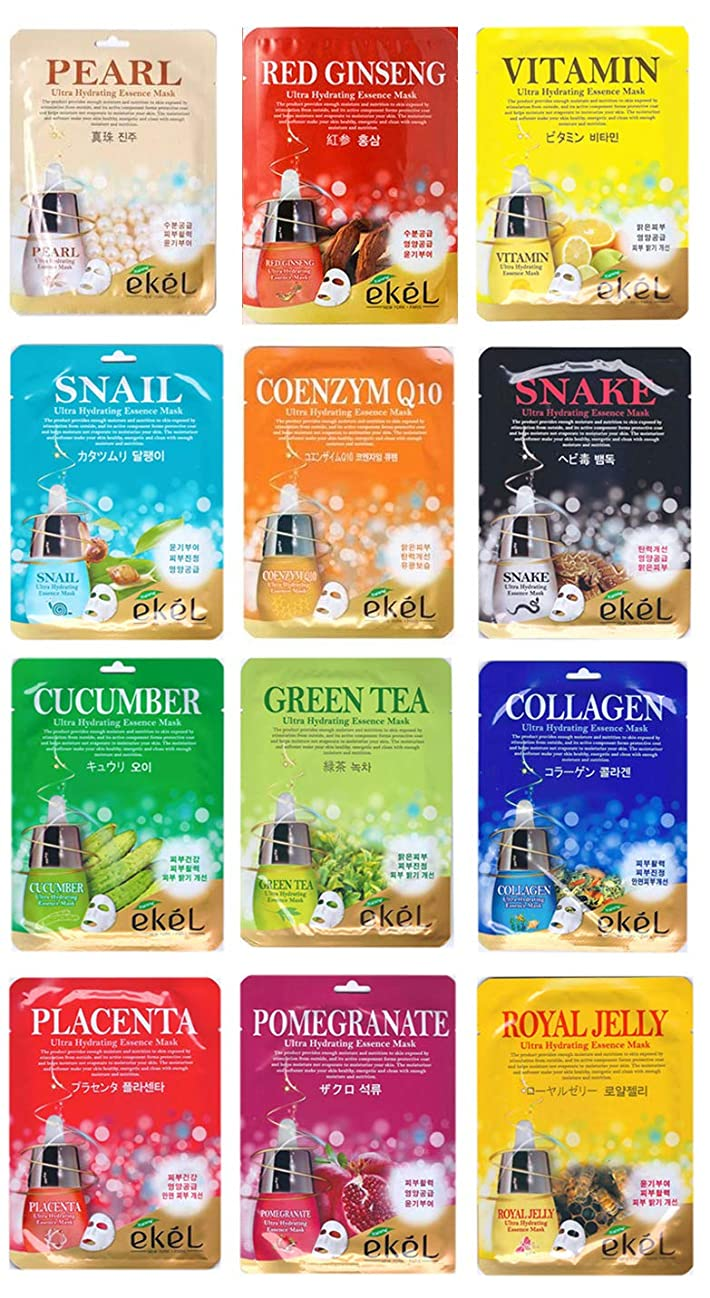 常習者シニスぼかしEKEL シートマスク マスクパック 韓国コスメ スキンケア 12枚セット 全12種類