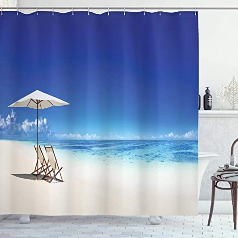 Details about  /Abstract Shower Curtain Ocean Themed Sunbeams Print for Bathroom