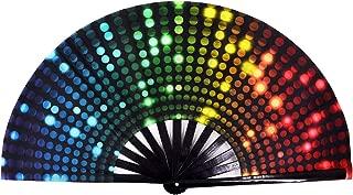 Amajiji Large Folding Hand Rave Fan for Women/Men, Chinease/Japanese Bamboo and Nylon-Cloth Folding Hand Fan, Hand Fan Festival Fan Gift Fan Craft Fan Folding Fan Dance Fan (DJ Light)
