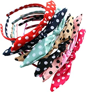 Pack of 9 Polka Dot Bow Style Tie Headband Hair Hoop - Fashion Fabric Covered Rabbit Ears Hair Band for Women