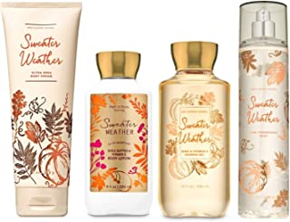 Bath and Body Works SWEATER WEATHER Deluxe Gift Set Body Lotion - Body Cream - Fragrance Mist and Shower Gel - Full Size