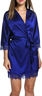 Hotouch Women's Bathrobes Short Satin Kimono Robes Bridesmaids Sleepwear with Oblique V-Neck S-XXL
