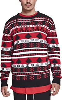 Urban Classics Snowflake Christmas Tree Sweater Felpa, Multicolore (Black/Fire Red/White 01245), XXXX-Large Uomo