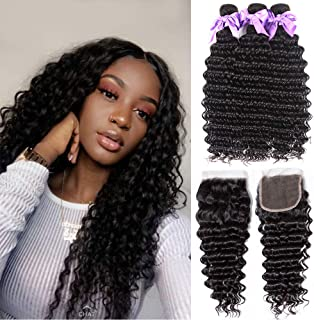 8A Brazilian Deep Wave Bundles With Closure Free Part 100% Unprocessed Human Hair Wet and Wavy Human Hair Weave Bundles with Closure Natural Color Can Be Dyed No Shedding (14 16 18+12closure)