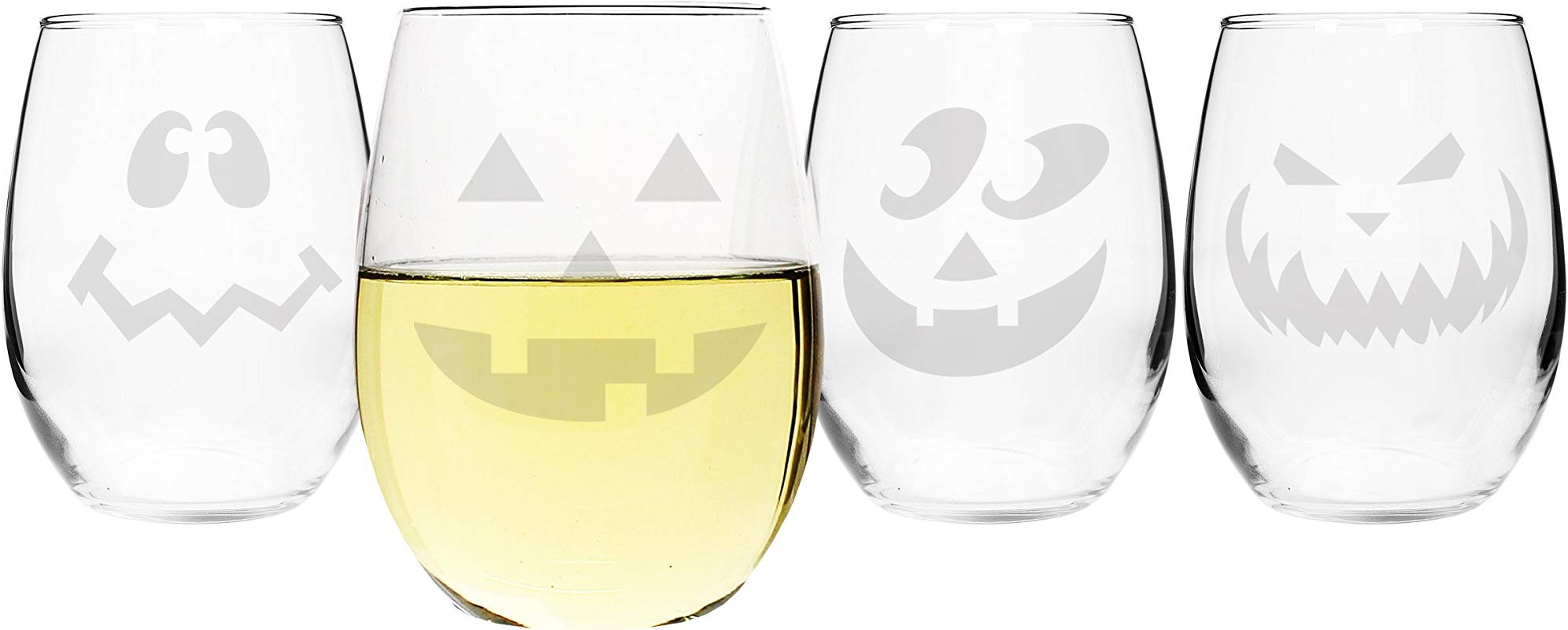Cathy S Concepts Jack O Lantern Stemless Wine Glasses Set Of 4