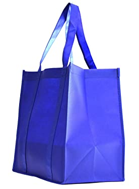 100 Pack Heavy Duty Grocery Tote Bag, Large-Royal Blue Strong, Reusable Shopping Bags with Stand-up PL Bottom, Non-Woven Convention Tote Bags, Premium Quality (Set of 100 (1BOX), Large-Royal Blue)