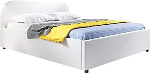 muebles bonitos Cama de Matrimonio con canapé Lexy en Color Blanco (180x200cm)