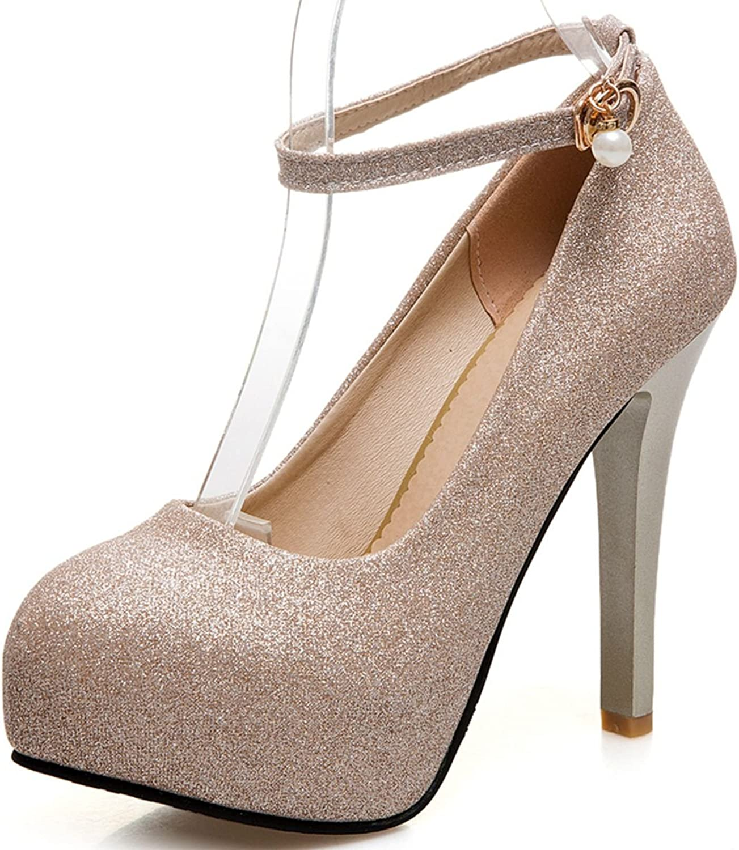 DecoStain Women's Fashion Ankle Strap Sequin Glitter Spring New Stilettos High Heels Platform Pumps Party Wedding shoes
