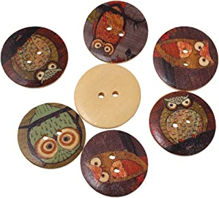 HOUSWEETY 50PCs Wooden Buttons Owl Cartoon Pattern Fashion 2-Hole Sewing Scrapbook DIY