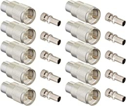 Ancable UHF/PL-259 Male Solder Coax Connector with Reducer for CB Ham Radio Antenna,Pack of 10,Silver