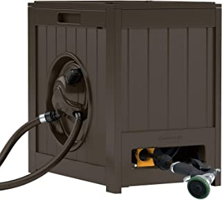 Suncast Aquawinder 125' Garden Hose Reel - Lightweight Portable Hands - Free Water Powered Retractable Hose Reel - Brown