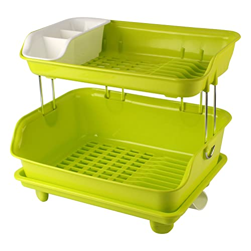 HuiHuang Plastic Kitchen Dish Drainer Rack with Tray and Cutlery Holder 845f0b3974