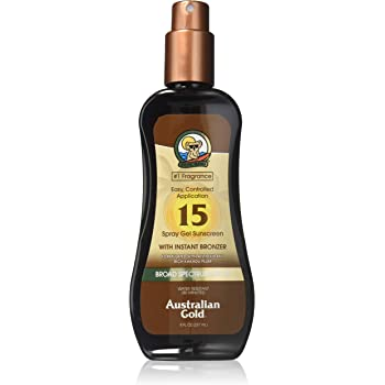 Australian Gold Spray Gel Sunscreen with Instant Bronzer SPF 15, 8 Ounce | Moisturize & Hydrate Skin | Broad Spectrum | Water Resistant