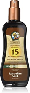 Australian Gold Spray Gel Sunscreen with Instant Bronzer SPF 15, 8 Ounce | Moisturize..