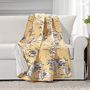 Lush Decor French Country Toile Cotton Reversible Throw Blanket, Yellow & Gray, 60