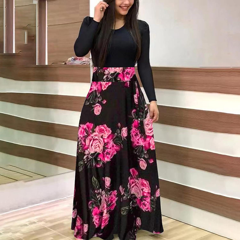 MEIbibibi Women Black Stitching Dresses High Waist Slim Long Dress Pattern Print Hem Long Sleeve Maxi Dresses