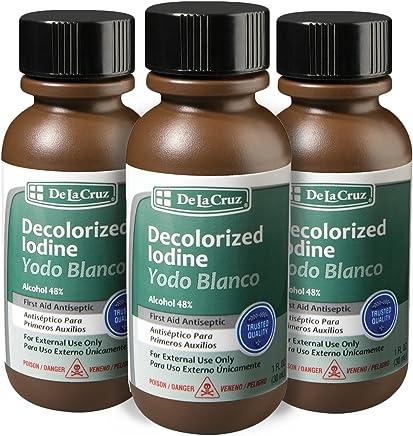 De La Cruz Decolorized Iodine First Aid Antiseptic, Made in USA 1 FL OZ.