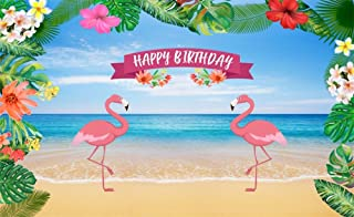 Leowefowa 5X3FT Girls Happy Birthday Backdrop Seaside Sand Beach Backdrops for Photography Flamingo Fresh Flowers Banner Vinyl Photo Background Baby Princess Summer Studio Props