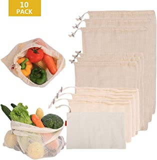 POWERbeast Reusable 10 pcs Produce Bags from 100% Organic Cotton - Mesh Vegetable Bags Eco-Friendly & Washable Zero Waste Shopping Bags for Grocery Transport Store Vegetables Toys Fruits- Fruit Bags
