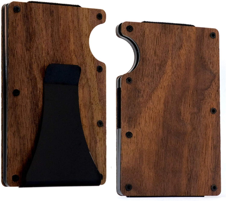 Minimalist Handmade Natural Wood Credit Card Holder Wooden Case Slim RFID Blocking Money Cash Clip (Walnut)
