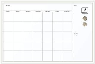 U Brands Magnetic Dry Erase Calendar Board, 20 x 30 Inches, White Wood Frame (Renewed)
