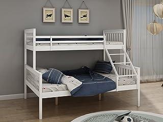 Barnvåningssäng 3 FT enkel 4FT6 dubbel trä tallram trippel sovsäng för barn tonåringar vuxen sovrum möbler gästrum i vitt