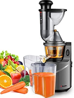 Mueller Austria Ultra Juicer Machine Extractor with Slow Cold Press Masticating Squeezer Mechanism Technology, 3 inch Chute accepts Whole Fruits and Vegetables, Easy Clean, Large, Nickel