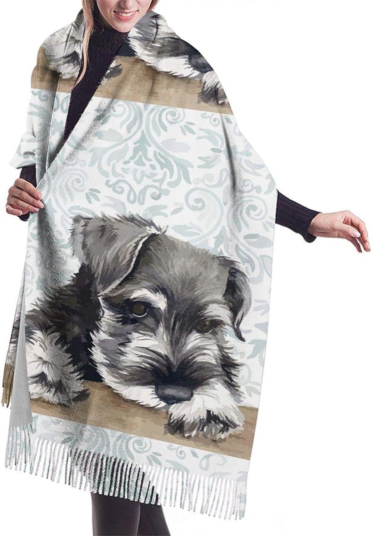Womens Comfortable Cashmere Scarf,Schnauzer Shawl Scarf,Premium Large Pashmina,Warm Wrap Cape Solid Shawl Elegant Wrap