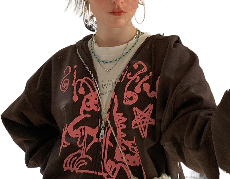 Oversized Sweatshirt for Women Zip Up Drawstring Hoodie Tee Long Sleeve Sweatshirt Jacket Aesthetic Y2k Fashion Streetwear