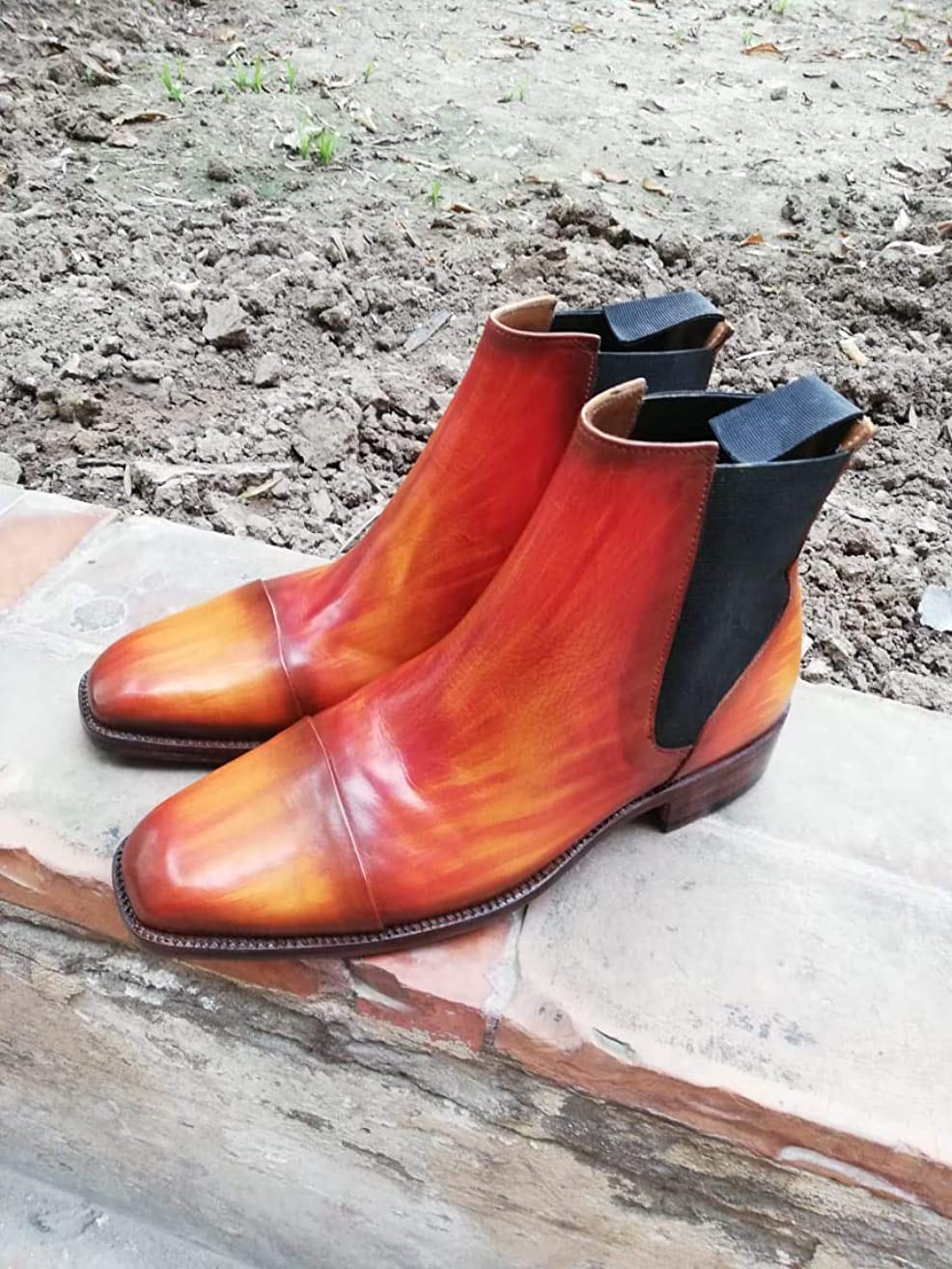 Men's Handmade Leather Patina Ankle boots Leather Chelsea boots for men