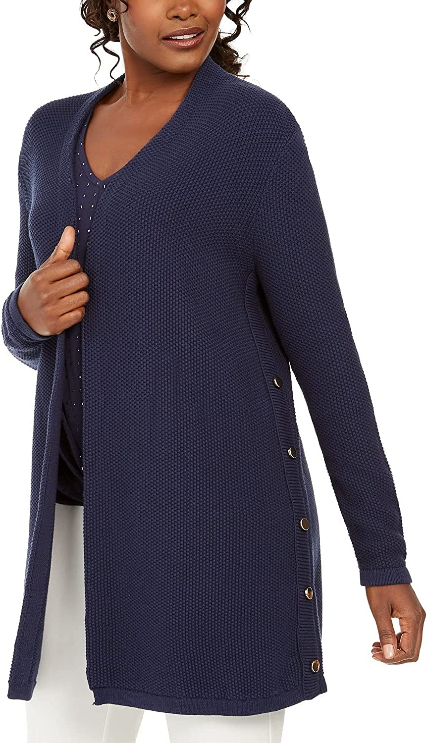 JM Collection Women's Side-Button Open-Front Cardigan Blue Size Small