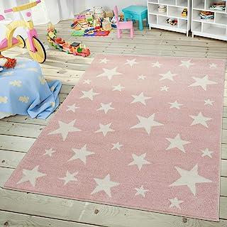 comprar comparacion Moderna Alfombra Pelo Corto Estrellas Habitación Infantil Pastel Rosa Blanco, tamaño:120x170 cm