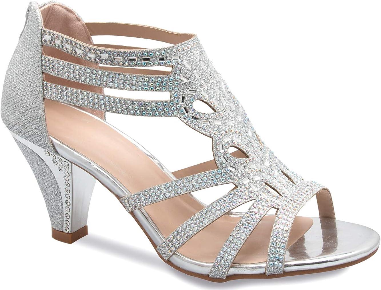 Olivia K Women's Open Toe Strappy Rhinestone Dress Sandal Low He