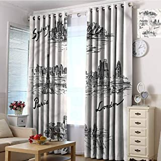 CostomDIY-drapes Grommet Curtain Panels, Travel Worlds Famous Cities Curtains Doorway, 72