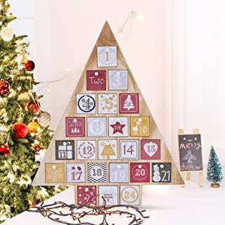Juegoal 15 Inches Advent Calendar with 24 Drawers Countdown to Christmas, Refillable Wooden Advent Tree Shape