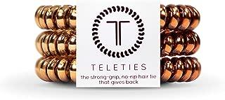 TELETIES Small Caramel Copper Hair Ties, Hair Coils 3 pack
