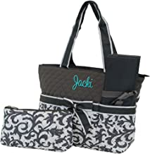 Grey Damask with Grey Trim 3 Piece Diaper Bag Set with Changing Pad and Accessories Bag